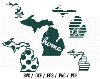 Michigan SVG, State Outline, State Decor, Spartans SVG, DXF Files, Vector Art, Cricut Design Space, Silhouette Studio, Cut File - CA205