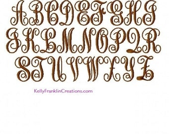 Intertwined Embroidery Monogramming Font - 5 Sizes!