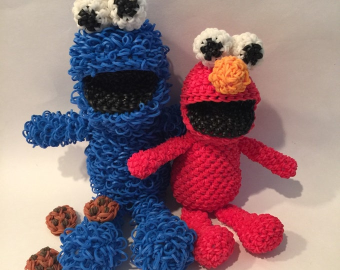 Cookie Monster & Elmo Combo Play Pack Rubber Band Figure, Rainbow Loom Loomigurumi, Rainbow Loom Disney