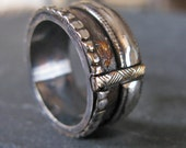 CUSTOM for Ron - Viking Ring - Extra Rose Gold (NO Yellow Gold) in Center and Etched Rose Strip - Silver Areas to be Black Rhodium Plated