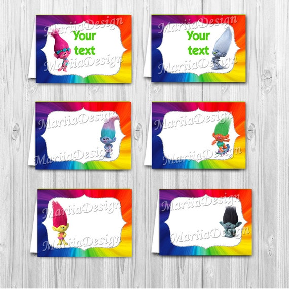Trolls Food Labels Trolls Tent Cards Trolls Labels For