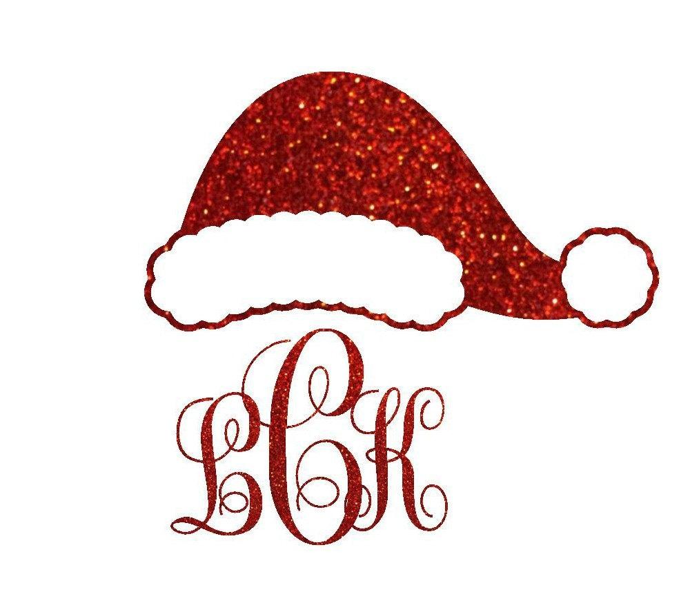 Glitter monogram santa hat iron on transfer personalized