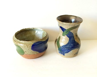 Blue and Green Stoneware Set
