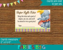 Dumbo Baby Shower Diaper Raffle Tickets Ticket Party Favor Cards  ~ We Print & Ship To You