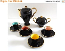 ON SALE French Vintage Black and Golden Coffee Set - Mid Century Porcelain Tea Set - Retro 50s Teapot or Coffee Pot, Sugar Pot and Cups