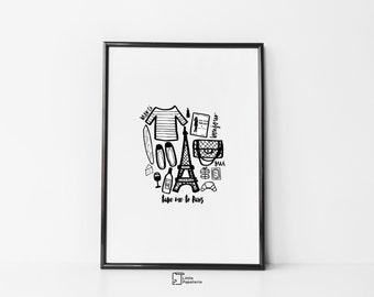 Take Me to Paris Print, Black & White, Monochrome Print, Paris Print, Hand drawn print, Illustration, A4 Print