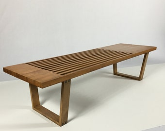 Vintage George Nelson Style Slat Platform Bench Coffee Table Mid Century Modern 1950s