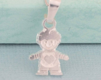 Sterling Silver Boy Necklace, Little Boy Charm, Silver Boy Pendent, Sterling Silver Boy, Children Jewelry, Silver Boy Necklace, Baby Boy