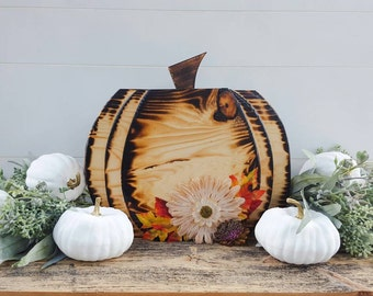 Limted Edition Wood Burned Wood Pumpkin Decor, Rustic Wood Pumpkin Decor, Autumn Decorations Mantle Decor, Halloween Centerpiece, Seasonal