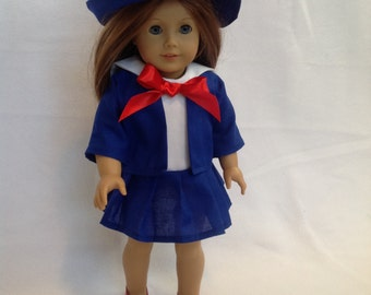 "American Girl Doll (or other 18"" doll) three piece sailor outfit"