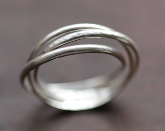 Sterling Silver Russian Wedding Band Rolling Ring