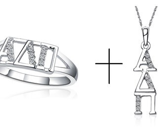 """Alpha Delta Pi Ring and Necklace with 18""""(ADP-R001)"""