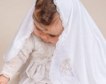 Jessa Receiving Blanket, White Lace Christening Blanket