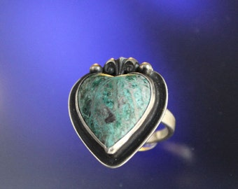 Heart Shape Parrot Wing Chrysocolla Stone Ring Handcrafted