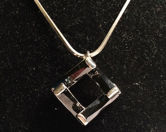 925 Italy sterling silver necklace with onyx pendant