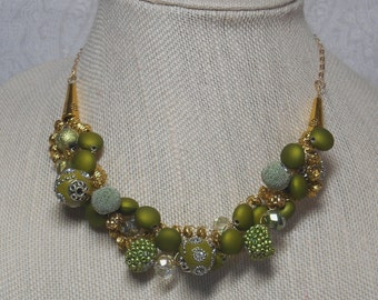 026N Green with Gold Necklace
