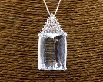 Huge Emerald Cut Aquamarine & Diamond Necklace Pendant 14K White Gold 45.47Ct