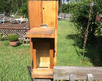 Rustic bird feeder with real glass and real wood . Bird lovers , bird watching , wild bird feeder , pole mount. Fence mount, little bird
