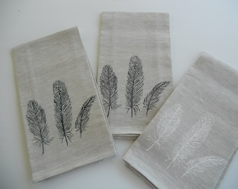 Linen teatowel with feather screen print