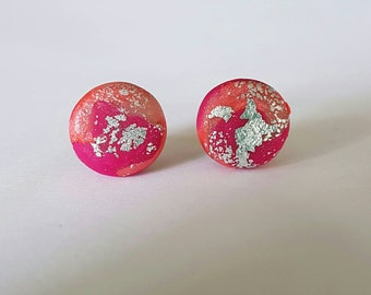 Pink and peach clay stud earrings.