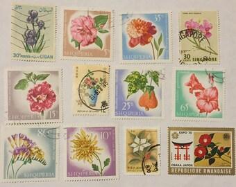 12 Floral Postage Stamps