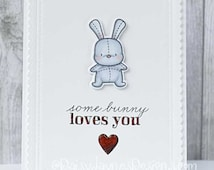 Handmade Greetings card, Some bunny loves you, love/valentine's card