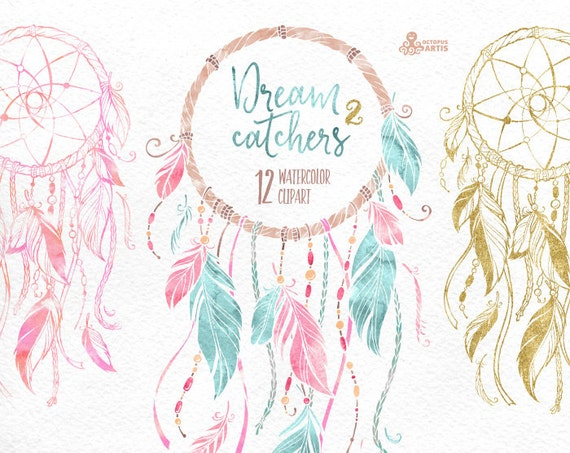 Dreamcatchers 2 Watercolor Clipart Tribal Feathers Diy