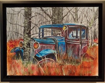 "Original ""Forgotten Times""  Framed Acrylic Painting on a Stretched Gallery Canvas. #14-032"