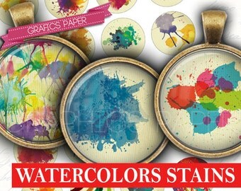 "Circles Watercolor Stains Round images - digital collage sheet - td403 - 1.5"", 1.25"", 30mm, 1 inch circles Printable Images Bottle caps"