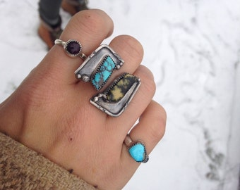 Natural Double Stone Adjustable Ring