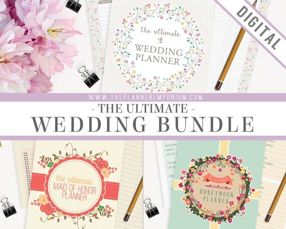 Ultimate Wedding Honeymoon Planner Bundle - Instant Download - Printable DIY - Wedding, Maid of Honor, Honeymoon Vacation Journal Included