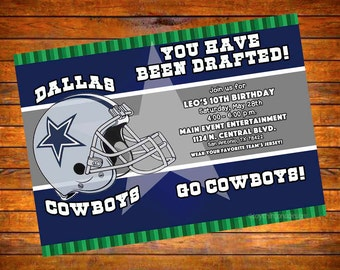 Custom Digital OR Printed Dallas Cowboys Birthday Party Invitation