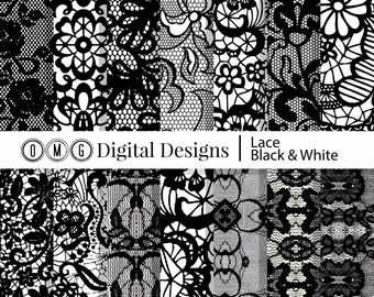 """Black and White Lace Digital Paper Pack - Instant Download - Digital Scrapbook Paper 8.5"""" x 11"""" and 12"""" x 12"""""""