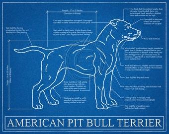 Pit Bull Blueprint Elevation / Pit Bull Art / Pit Bull Wall Art / Pit Bull Print / Pit Bull Gift / Pitbull Gift