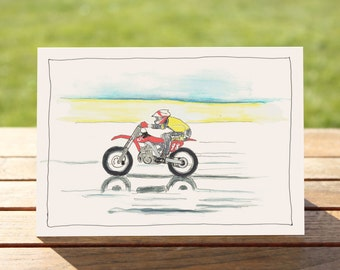 "Motorcycle Gift Card - Dirt Bike  | A6 Measures: 6"" x 4"" / 103mm x 147mm 