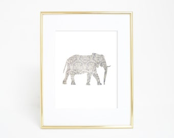 Elephant Print, Nursery Decor, Nursery Prints, Printable Wall Art, Safari Nursery Decor, Nursery Animal Art, Downloadable Art, Baby Room Art