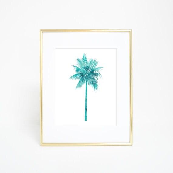 Tropical Print, Palm Tree Print, Palm Tree Art, Palm Art Print, Palm Artwork, Blue Palm Tree, Aqua Print, Aqua Palm Tree, Wall Art Print