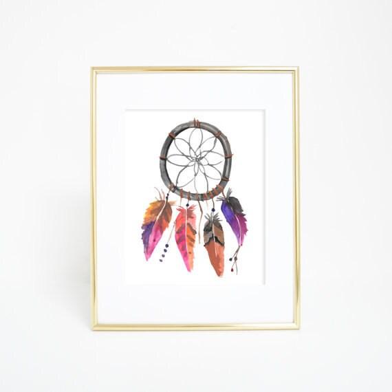 Dream Catcher Print, Dreamcatcher Art Print, Dreamcatcher Print, Watercolor Dreamcatchers, Tribal Print, Watercolor Feathers, Tribal Nursery