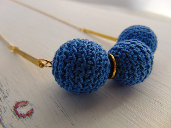 Blue Necklace Crocheted Beaded Necklace, Single Strand Necklace, Statement Necklace, Long Necklace
