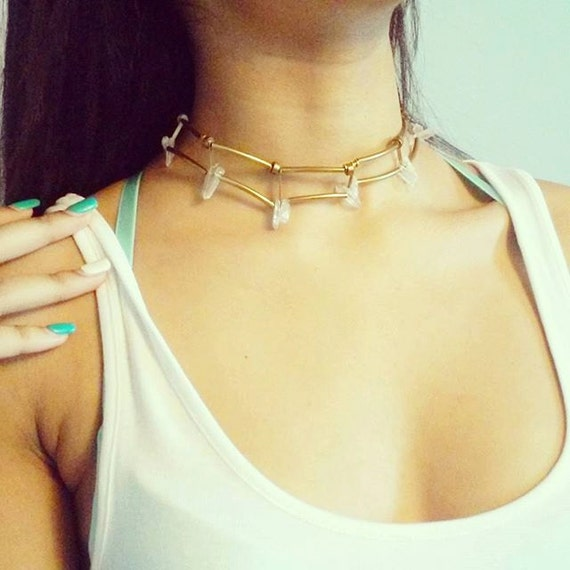 clear crystal quarts statement choker