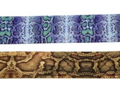 2 pieces set 22mm wide snake print blue and brown Rockabilly gothic victorian style  plain choker