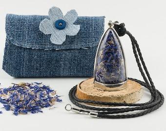 Botanical Blue Cornflower Necklace