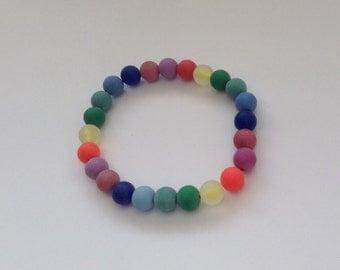 Rainbow bracelet, stretch bead bracelet, colourful jewelry, gift for her, ladies bracelet, spring bracelet, gift idea, tutti fruitti