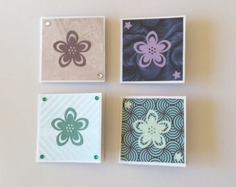 Mini cards, flower cards, floral cards, gift cards, thank you cards, note cards, any occasion, set of 4