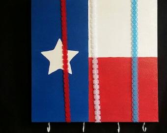 Texas flag bow board with headband holders