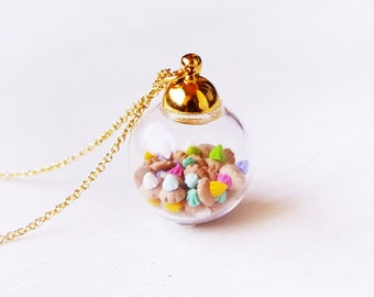Elfi Handmade Cute Tiny Ice Gems in Mini Glass Jar Necklace, Perfect for Christmas gifts  wedding gift Ice Gem Charm Kawaii Best selling