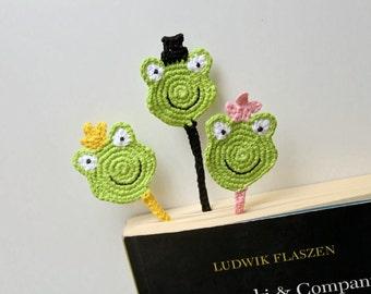 Funny Bookmark, Crochet Bookmark, frog bookmark, Princess Frog bookmark, Green bookmark