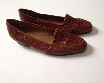 Vintage Woven leather shoes Cognac Brown 8/8.5