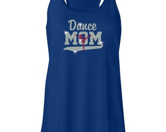 Dance Mom and Dancer Glitter Women's Flowy Royal Racerback Tank Top