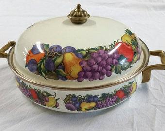 Beautiful Italian Vintage Enamel Coasted Roasting Pot with Lid